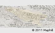 Shaded Relief Panoramic Map of Datong, semi-desaturated