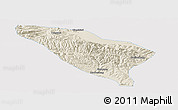 Shaded Relief Panoramic Map of Datong, single color outside