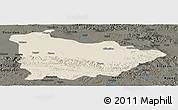Shaded Relief Panoramic Map of Dulan, darken
