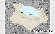 Shaded Relief Map of Gonghe, darken, desaturated