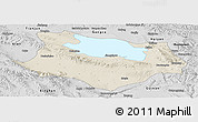 Shaded Relief Panoramic Map of Gonghe, desaturated