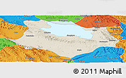 Shaded Relief Panoramic Map of Gonghe, political outside