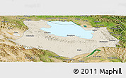 Shaded Relief Panoramic Map of Gonghe, satellite outside