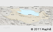 Shaded Relief Panoramic Map of Gonghe, semi-desaturated