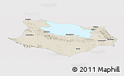 Shaded Relief Panoramic Map of Gonghe, single color outside