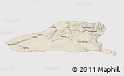 Shaded Relief Panoramic Map of Guinan, cropped outside