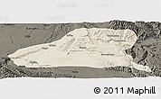 Shaded Relief Panoramic Map of Guinan, darken