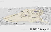 Shaded Relief Panoramic Map of Guinan, desaturated