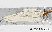 Shaded Relief Panoramic Map of Guinan, physical outside