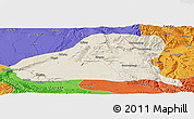 Shaded Relief Panoramic Map of Guinan, political outside