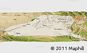 Shaded Relief Panoramic Map of Guinan, satellite outside