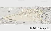Shaded Relief Panoramic Map of Guinan, semi-desaturated