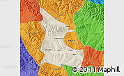 Shaded Relief Map of Huangzhong, political outside