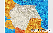Shaded Relief Map of Huzhu, political outside