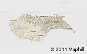 Shaded Relief Panoramic Map of Huzhu, cropped outside