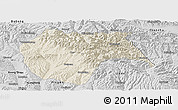 Shaded Relief Panoramic Map of Huzhu, desaturated