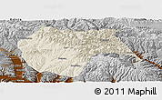 Shaded Relief Panoramic Map of Huzhu, physical outside
