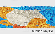Shaded Relief Panoramic Map of Huzhu, political outside