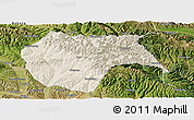 Shaded Relief Panoramic Map of Huzhu, satellite outside