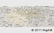 Shaded Relief Panoramic Map of Huzhu, semi-desaturated