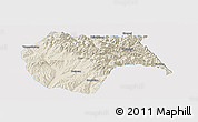 Shaded Relief Panoramic Map of Huzhu, single color outside