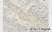 Shaded Relief Map of Menyuan, semi-desaturated
