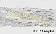 Shaded Relief Panoramic Map of Menyuan, desaturated