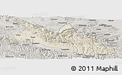 Shaded Relief Panoramic Map of Menyuan, semi-desaturated