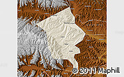 Shaded Relief Map of Minhe, physical outside