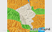 Shaded Relief Map of Minhe, political outside