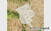 Shaded Relief Map of Minhe, satellite outside