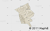 Shaded Relief Map of Minhe, single color outside