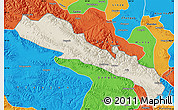 Shaded Relief Map of Qilian, political outside