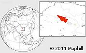 Blank Location Map of Tianjun