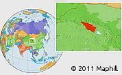 Political Location Map of Tianjun