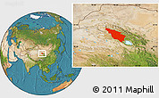 Satellite Location Map of Tianjun