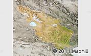 Satellite Map of Tianjun, semi-desaturated