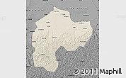 Shaded Relief Map of Dingbian, darken, desaturated