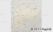 Shaded Relief Map of Dingbian, semi-desaturated