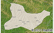 Shaded Relief Map of Fu Xian, satellite outside