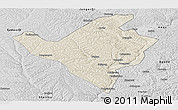 Shaded Relief Panoramic Map of Fugu, desaturated