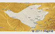 Shaded Relief Panoramic Map of Fugu, physical outside