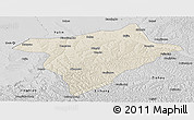 Shaded Relief Panoramic Map of Hengshan, desaturated