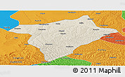 Shaded Relief Panoramic Map of Hengshan, political outside
