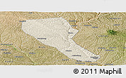 Shaded Relief Panoramic Map of Jia Xian, satellite outside