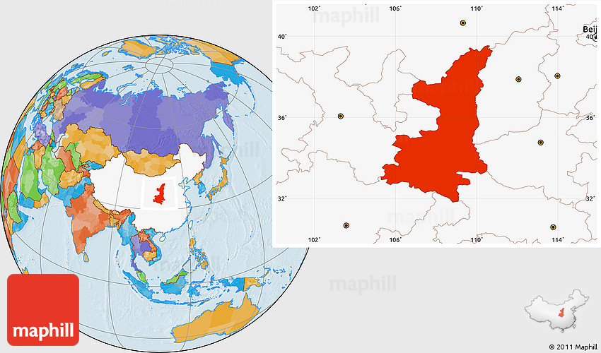 Political location map of shaanxi highlighted country 2d gumiabroncs Images