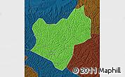 Political Map of Wuqi, darken