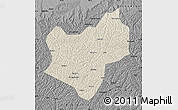 Shaded Relief Map of Wuqi, darken, desaturated