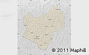 Shaded Relief Map of Wuqi, lighten, desaturated