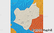 Shaded Relief Map of Wuqi, political outside
